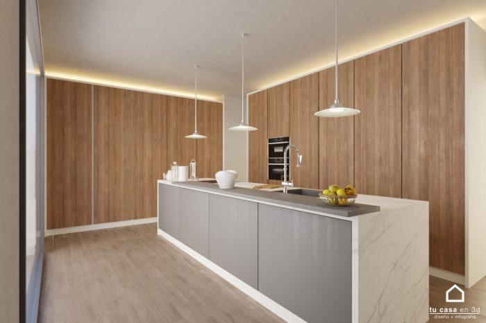Diseño de Cocina en 3D con Isla