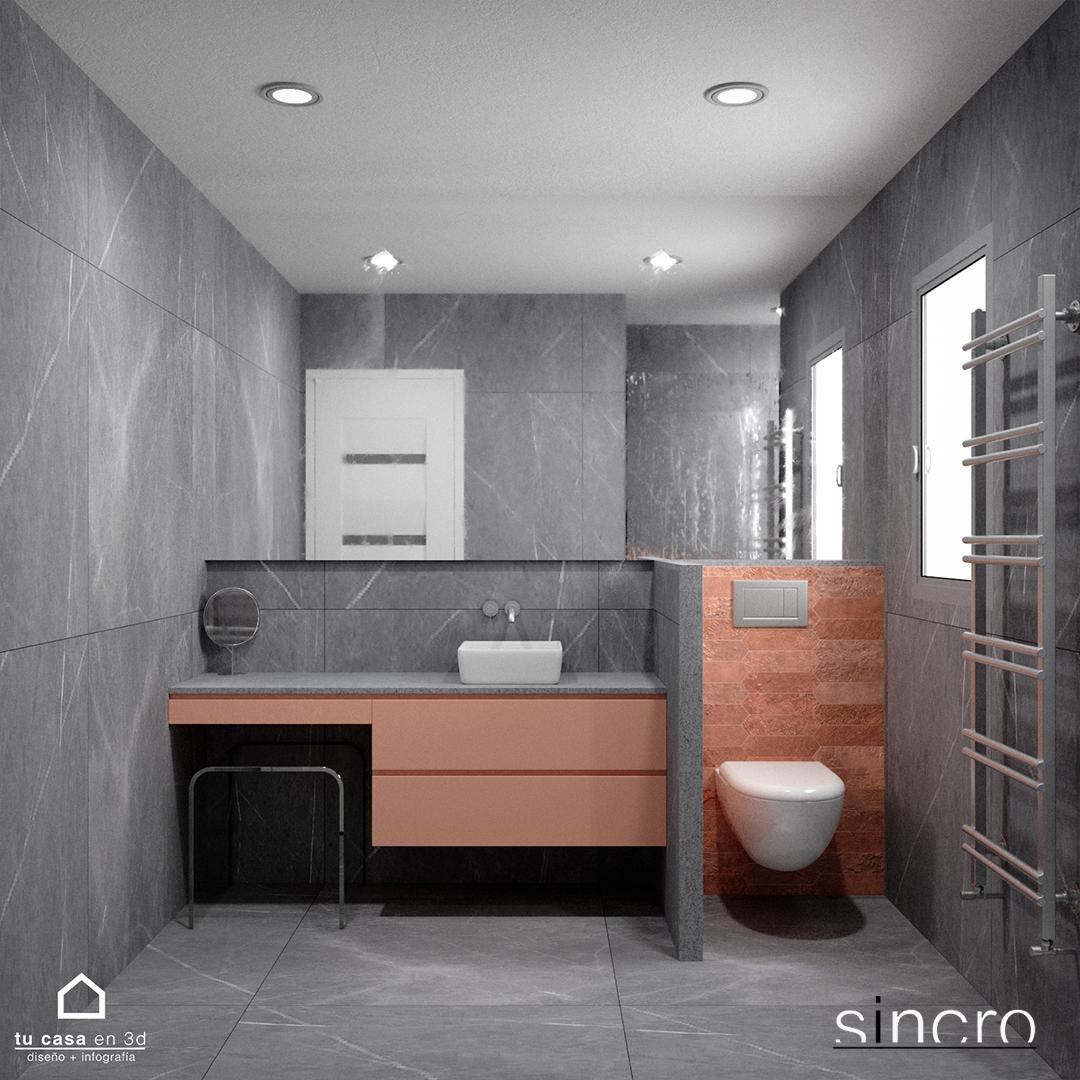 Reforma de Baño en color gris y Rosa