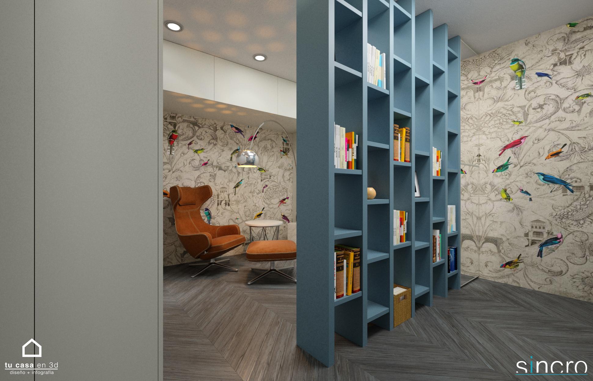 Reforma de vivienda con Cocina, Salón y Biblioteca, colores pasel