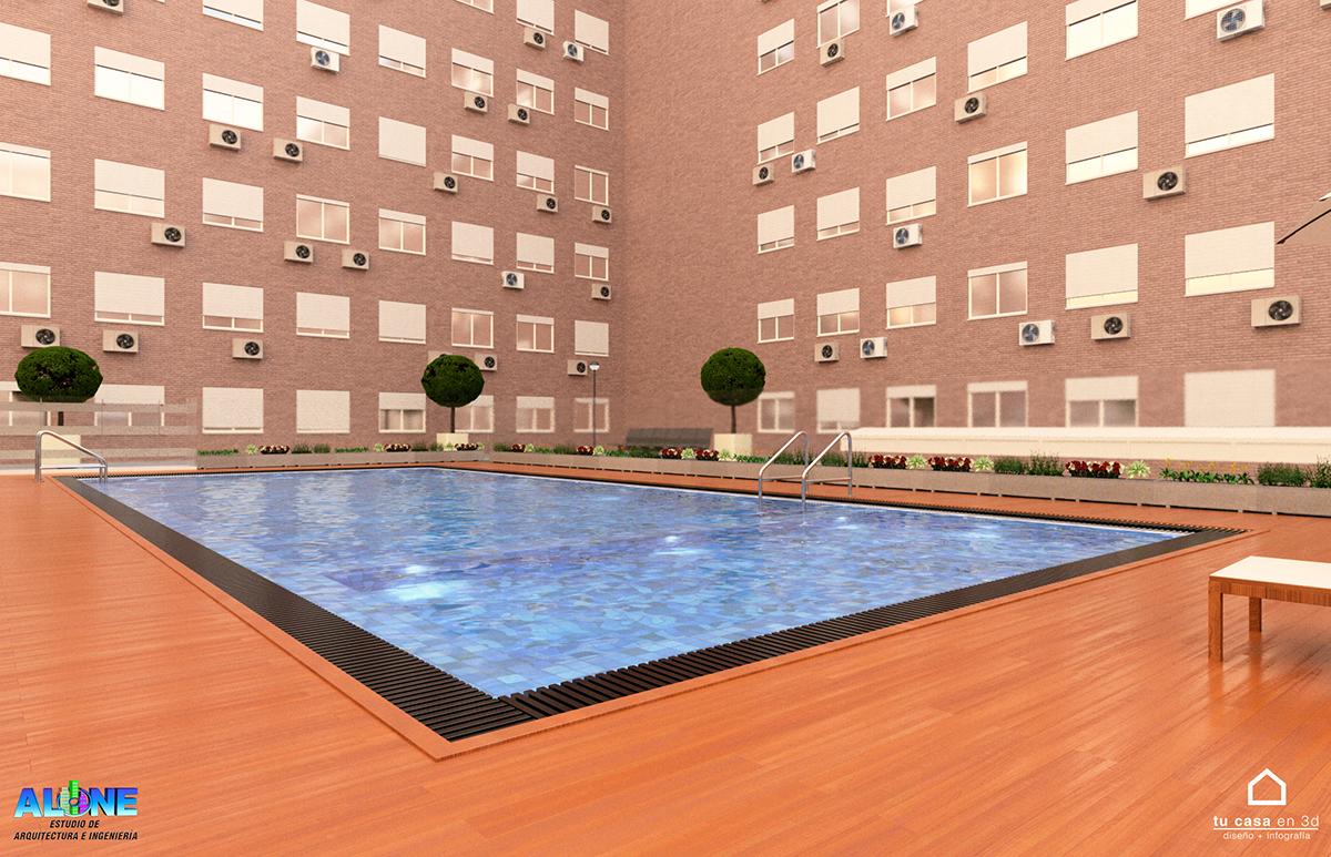 Diseño piscina interior urbanización en Madrid