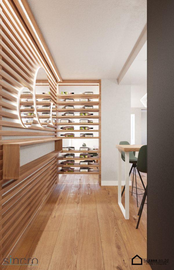 Entrada fabra i puig, madera, espejos, botellero