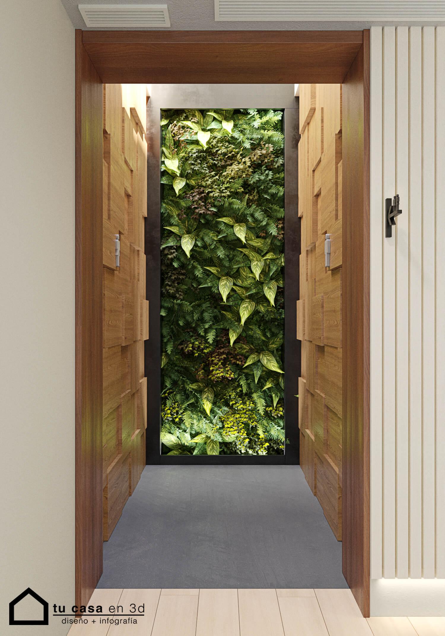Jardín vertical entrada a baños